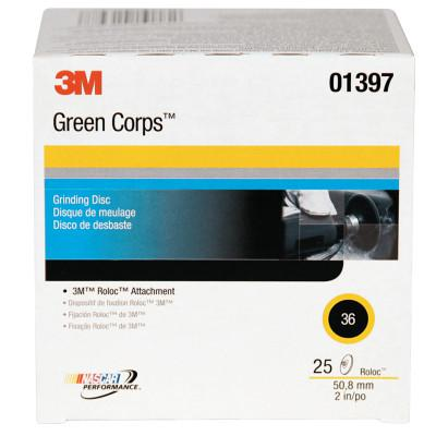 3M ABRASIVE Green Corps Roloc Discs, 2 in Dia., 36 Grit