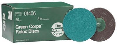 3M ABRASIVE Green Corps Roloc Discs, Aluminum Oxide, 3 in Dia., 50 Grit