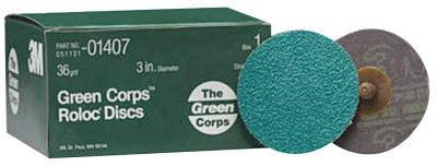 3M ABRASIVE Green Corps Roloc Discs, Aluminum Oxide, 3 in Dia., 36 Grit