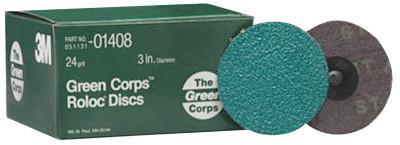 3M™ ABRASIVE Green Corps Roloc Discs, Aluminum Oxide, 3 in Dia., 24 Grit