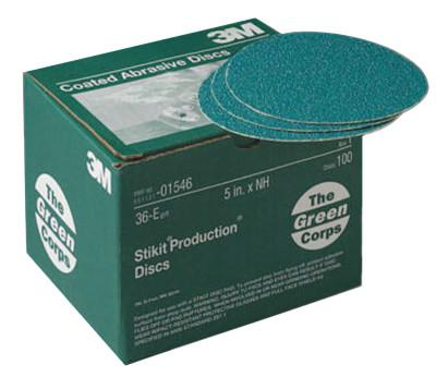 3M™ ABRASIVE Green Corps Stikit Production Discs, Aluminum Oxide, 5 in Dia., 36 Grit