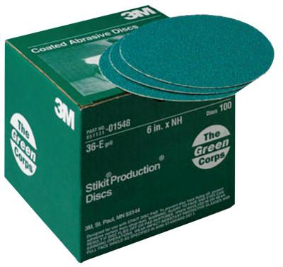 3M™ ABRASIVE Green Corps Stikit Production Discs, Aluminum Oxide, 6 in Dia., 36 Grit