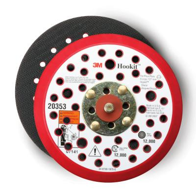 3M ABRASIVE Hookit Low Profile Disc Pads, 5 in Dia, Coarse, Black/Red