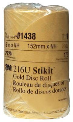 3M™ ABRASIVE Stikit Gold Disc Rolls 216U, Aluminum Oxide, 6 in Dia., 220 Grit