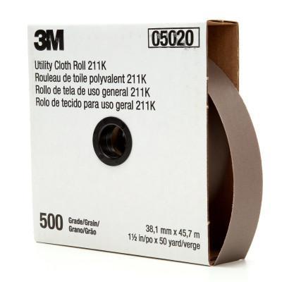 3M ABRASIVE 211K Utility Cloth Rolls, 1 1/2 in, 50 yd, 500 Grit