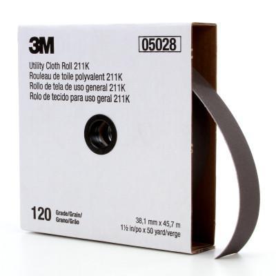 3M ABRASIVE 211K Utility Cloth Rolls, 1 1/2 in, 50 yd, 120 grit