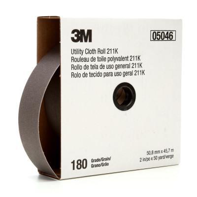 3M ABRASIVE 211K Utility Cloth Rolls, 2 in, 50 yd, 180 Grit