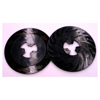 3M ABRASIVE Disc Pad Face Plates, 7 in Dia, Hard, Black
