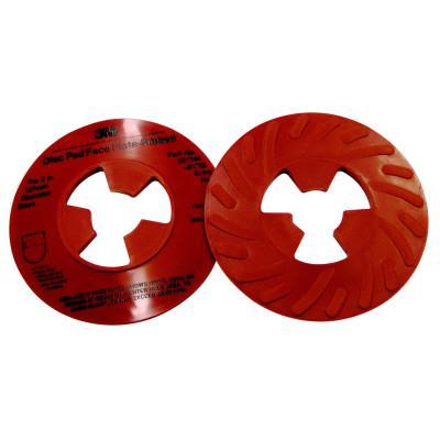 3M ABRASIVE Disc Pad Face Plate, Ribbed Retainer Nut, 5 in dia, Extra Hard, Red