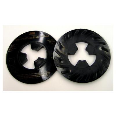 3M ABRASIVE Disc Pad Face Plates, 5 in Dia, Hard, Black
