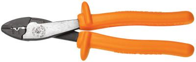 KLEIN TOOLS Insulated Crimping/Cutting Tools, 9 3/4 in, 10-22 AWG, Orange