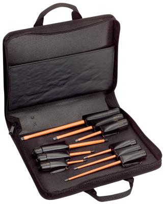 KLEIN TOOLS 9 Pc. Cushion Grip Insulated Screwdriver Kits, Phillips; Slotted, Inch
