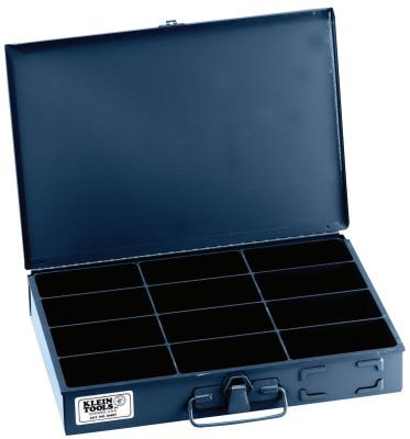 KLEIN TOOLS 12-Compartment Boxes, 13 5/16 in W x 9 3/4 in D x 2 in H, Gray