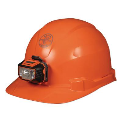 KLEIN TOOLS Hard Hat, Non-vented, Orange Cap Style with Headlamp