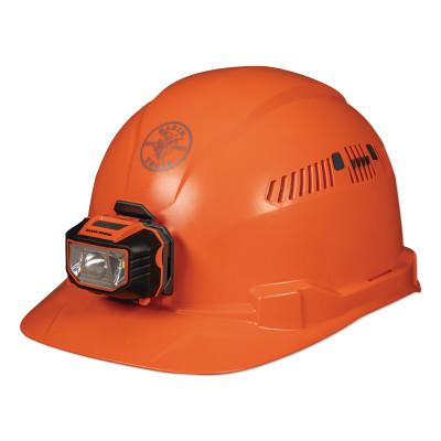 KLEIN TOOLS Hard Hat, Vented, Orange Cap Style with Headlamp