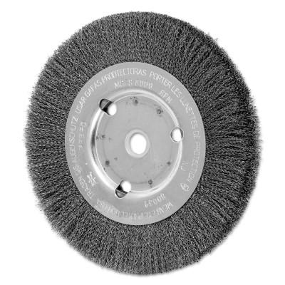PFERD Narrow Face Crimped Wire Wheel Brush, 6 D x 5/8 W, .006 Carbon Steel, 8,000 rpm