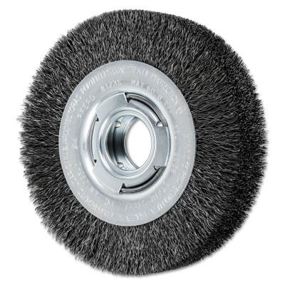 PFERD Wide Face Crimped Wire Wheel Brush, 6 D x 1 1/8 W, .012 Carbon Wire, 6,000 rpm