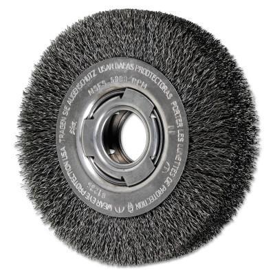 PFERD Wide Face Crimped Wire Wheel Brush, 6 D x 1 1/8 W, .014 Carbon Wire, 6,000 rpm