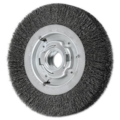 PFERD Wide Face Crimped Wire Wheel Brush, 8 D x 1 5/8 W, .012 Carbon Wire, 4,500 rpm