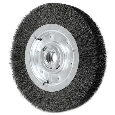 PFERD Wide Face Crimped Wire Wheel Brush, 10 D x 2 1/8 W, .012 Carbon Steel, 3,600 rpm