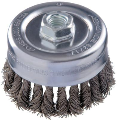 PFERD COMBITWIST Knot Wire Cup Brush, 4 in Dia., .023 in Carbon Steel Wire