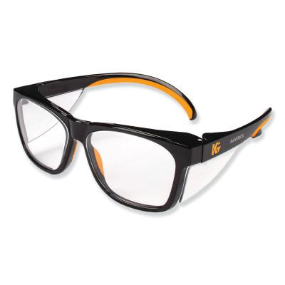 KLEENGUARD KLEENGUARD™ MAVERICK™ Safety Glasses, Clear Anti-Glare Lens, Black/Orange Frame