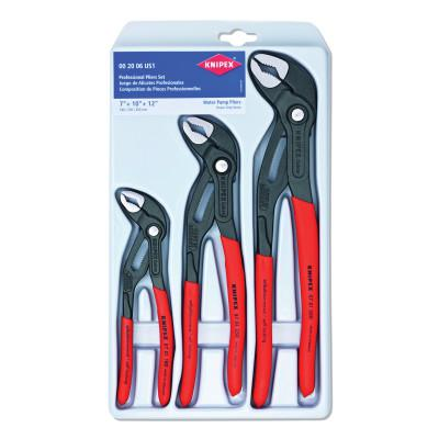 KNIPEX Cobra 3-Piece Locking Pliers Sets, 7 in; 10 in; 12 in