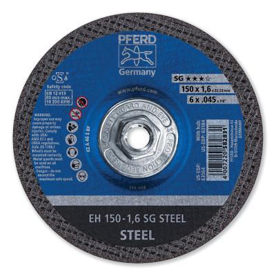 PFERD SG Type 27 Depressed Center Cut-Off Wheel, 6 in Dia x 0.045 in Thk, 5/8-11, 46 Grit, Aluminum Oxide