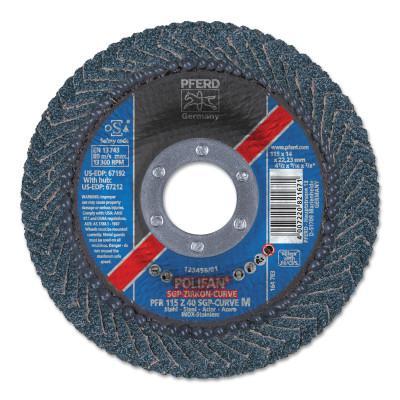 PFERD POLIFAN Curve Flap Wheels, 4-1/2 in x 5/8 in, 60 Grit, 13300 RPM