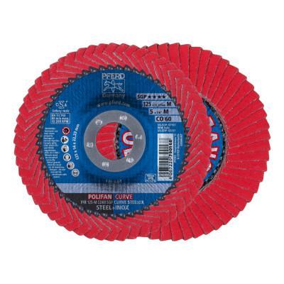 PFERD Polifan Curve Flap Wheels, 5 in Diam, 9/16 in Thickness, 60 Grit, 12,200 rpm