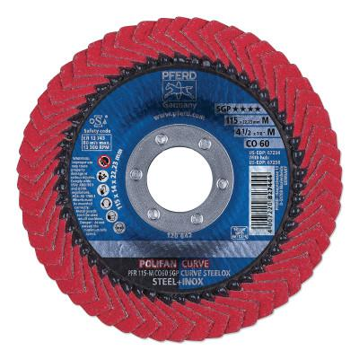 PFERD POLIFAN SGP CO-Curve Flap Wheel, 4-1/2 in x 7/8 in, 60 Grit, 13300 RPM