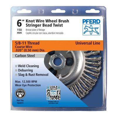 PFERD Economy Power Brushes, 6 in Dia., 5/8 in - 11, 48 Knots, 12,500 rpm