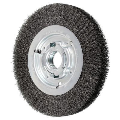 PFERD Unthreaded Crimped Wheel Brushes, 8 in Dia., 2 in Arbor, .01 in, Carbon Steel