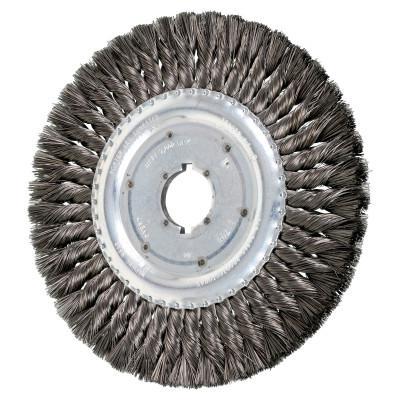PFERD Unthreaded Knot Wheel Brushes, 8 in Dia., 1 1/4 in Arbor, 0.014 in, Carbon Steel