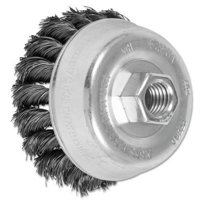 PFERD Mini Knot Cup Brush, 3 1/2 in Dia., 5/8-11 Arbor, .014 in Carbon Steel Wire