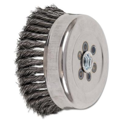 PFERD Standard Twist Single Row Cup Brush, 6 in Dia., 5/8-11 Arbor, .014 Carbon Steel