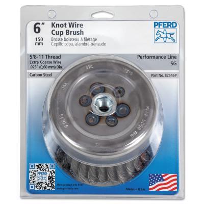 PFERD Mini Crimped Cup Brush, 6 in Dia., 5/8-11 Arbor, .023 in Carbon Steel Wire