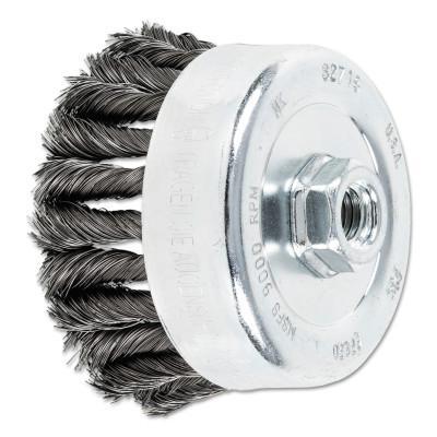 PFERD COMBITWIST Knot Wire Cup Brush, 4 in Dia., .014 in Carbon Steel Wire