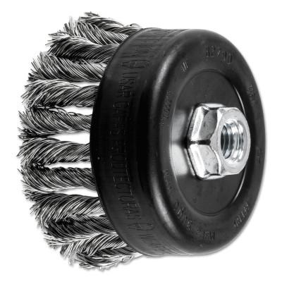 PFERD COMBITWIST Knot Wire Cup Brush, 4 in Dia., .023 in Stainless Steel Wire