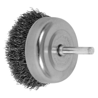 PFERD Stem Mounted Cup Brushes, 2 1/2 in Dia., 0.012 in, Carbon Steel Wire