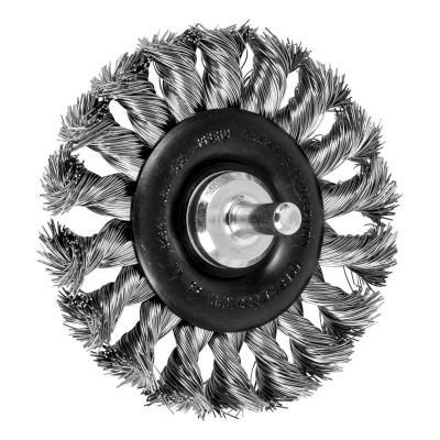 PFERD Stem Mounted Wheel Brushes, 3 in Dia., 1/4 in Stem,  0.014 in, Stainless Steel