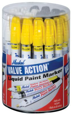 MARKAL Valve Action Paint Marker Counter Displays, White; Yellow; Black