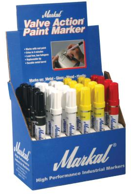 MARKAL Valve Action Paint Marker Counter Displays, (8)White;(8)Yellow;(4)Red;(4)Black
