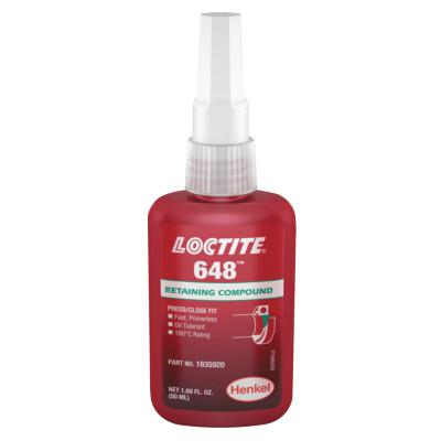 LOCTITE 648 High Strength Rapid Cure Retaining Compound, 50 mL Bottle, Green, 3,900 psi