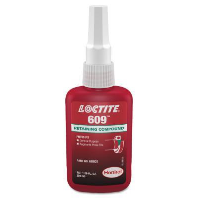 LOCTITE 609 Retaining Compound, General Purpose, 50 mL Bottle, Green, 3,000 psi