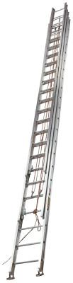 LOUISVILLE LADDER AE1660 Series Aluminum 3-Section Extension Ladders, 60 ft, Class I, 250 lb