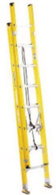 LOUISVILLE LADDER FE1700 Series Fiberglass Electrician Extension Ladders, 20 ft, Class I, 250 lb