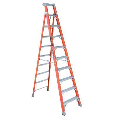 LOUISVILLE LADDER FS1500 Series Fiberglass Step Ladder, 10 ft x 27 7/8 in, 300 lb Capacity