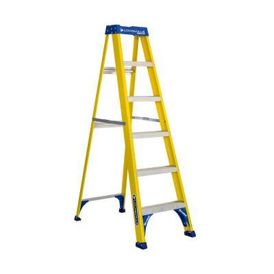 LOUISVILLE LADDER FS2000 Series Pioneer Fiberglass Step Ladder, 6 ft x 21 7/8 in, 250 lb Capacity