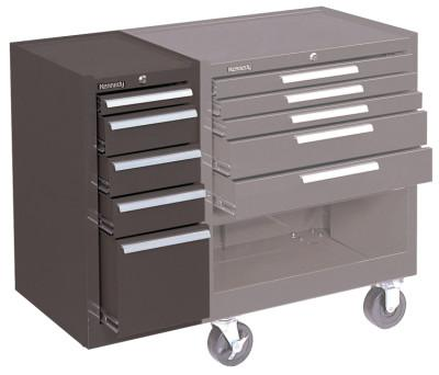 KENNEDY Hang-On Cabinets, 13 5/8 in x 18 in x 29 in, 5 Drawers, Brown